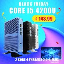 Topton sin ventilador Mini PC Intel i5 7200U i3 7100U aleación de aluminio a prueba de polvo hogar Mini ordenador HDMI, VGA, LAN, 6 USB 300M WiFi