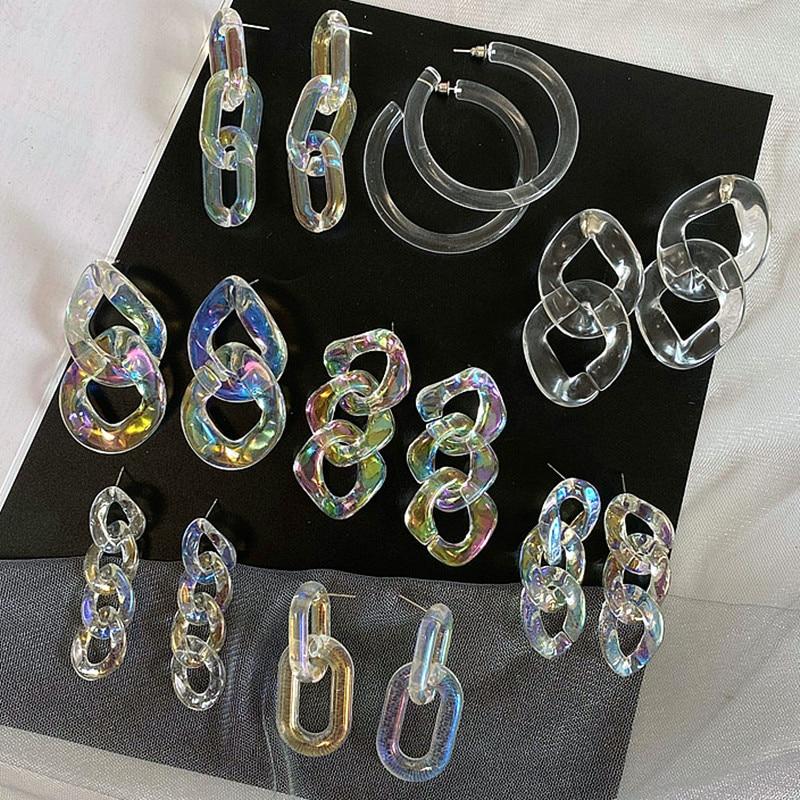 Женские акриловые серьги FishSheep Clear Aurora/AB, большие геометрические круглые длинные прозрачные модные серьги с подвесками, ювелирные изделия