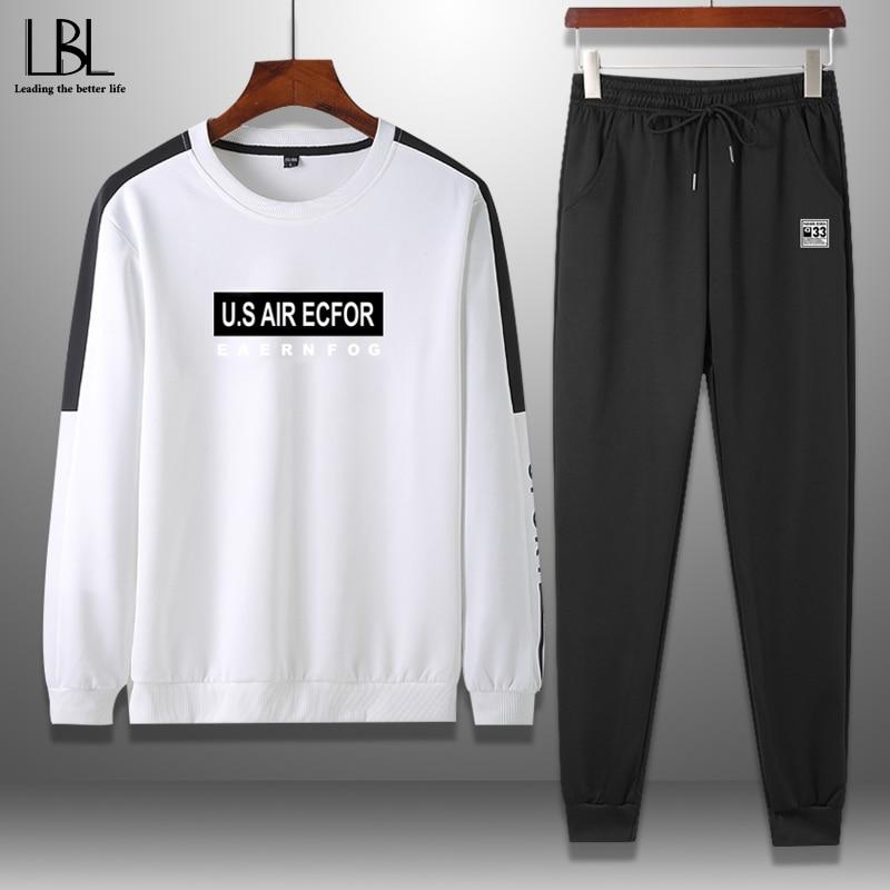 Men's Tracksuits Spring 2020 Hoodie Set Men Streetwear Letter Print Sweatshirts Sweartpants Man Fashion Two Piece Set Male 4XL