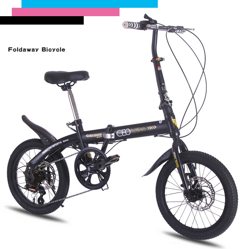 Folding <font><b>bike</b></font> 16 inch alloy steel frame variable speed mountain <font><b>bike</b></font> Outdoor sports <font><b>equipment</b></font> Black bicycle image