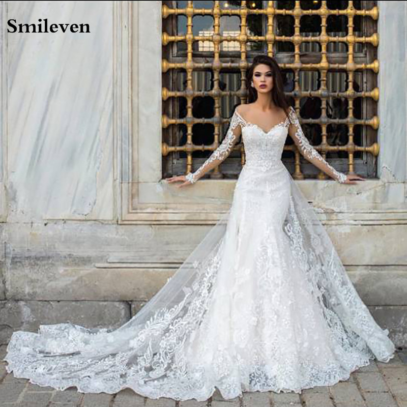 Smileven Lace Mermaid Wedding Dresses Long Sleeve With Nude Neck White Wedding Gown Sexy Vintage Bride Dress Robe De Mariage