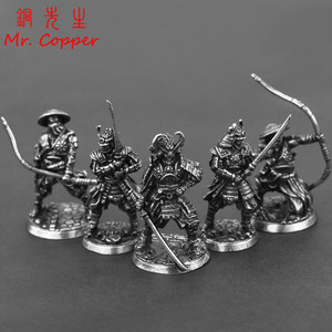 White Copper Japanese Shogunate Samurai Figurines Miniatures Vintage Metal Soliders Model Statue desktop Toy Ornament Decoration