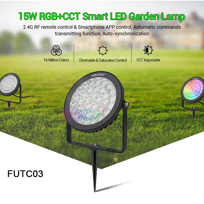 miboxer 15w rgb cct futc03 ac100 240v ip65 inteligente conduziu a luz do jardim a prova