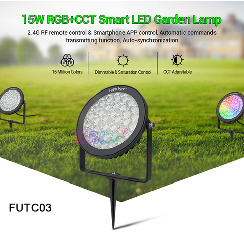 miboxer 15w rgb cct futc03 ac100 240v ip65 inteligente conduziu a luz do jardim a
