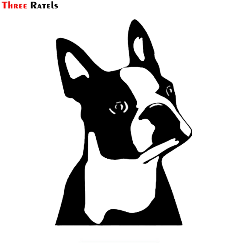 Three Ratels FTZ-196# Cute Boston Terrier Dog Stickers for Wall Window Cute Cartoon Vinyl Decal Living Room Decoration