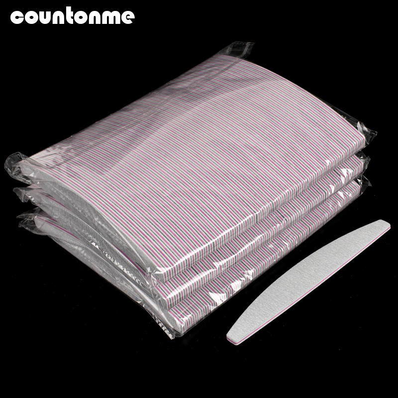 100pcs Grey Professional Nail Files Sanding Block Nail Buffer 100/180  Curved Boat File Manicure Tools Lima A Ongle Wholesale