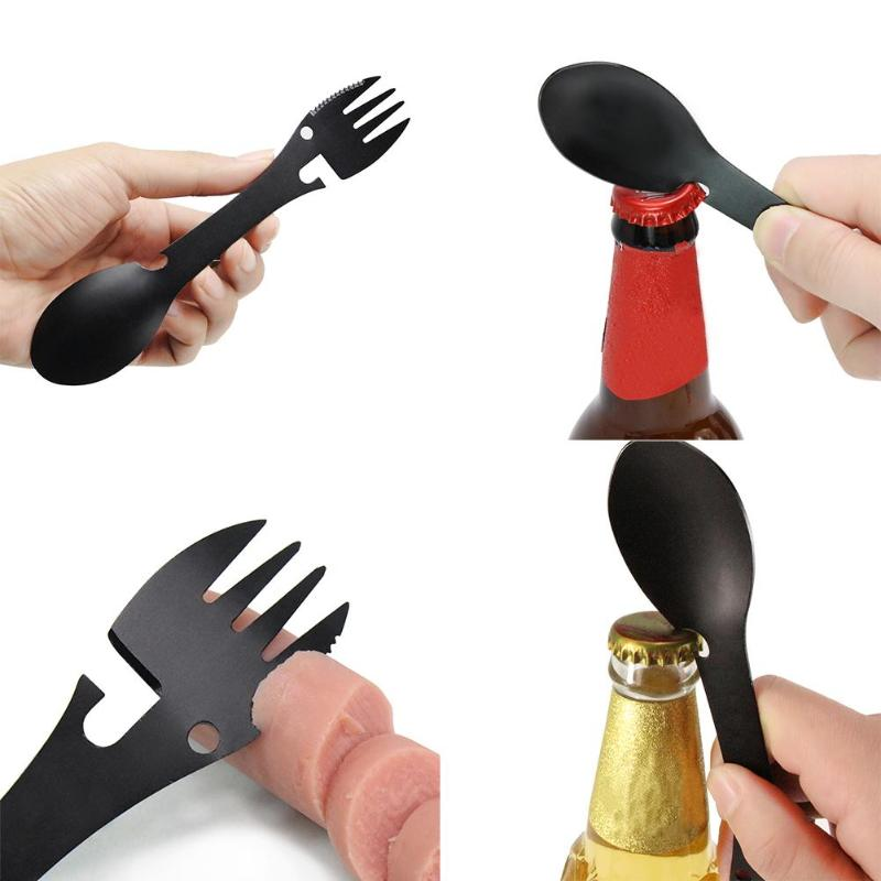 5 In 1 Multi-functional Outdoor Tools Stainless Steel Camping Survival Kit Fork Knife Spoon Bottle Opener Can Opener