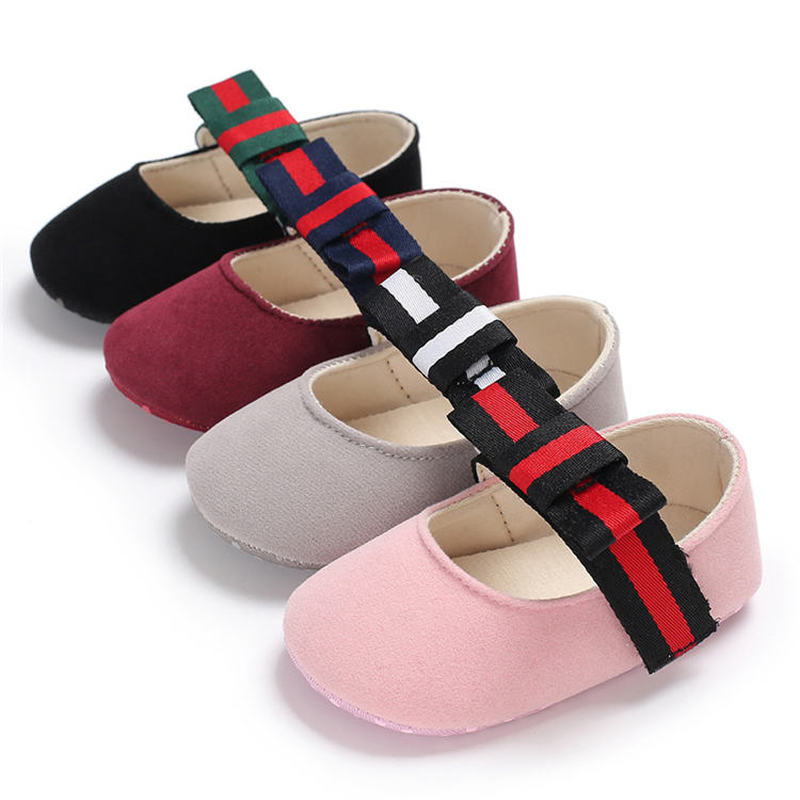 Newborn Baby Shoes Girl Crib Shoes Cute Princess Dress Bowknot Suede Soft-sole Toddler First Walkers Shoes Moccasins Soft Sole