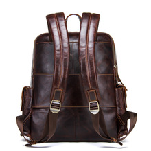 Knapsack leather men's shoulder bag retro mad horse cowhide Solid Retro three-dimensional  16-inch large capacity backpack