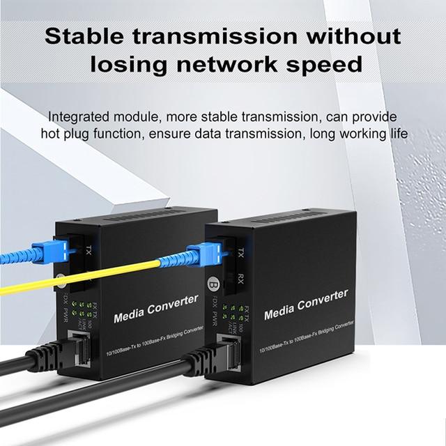 1 para optyczny konwerter światłowodowy 10/100M jednomodowy Simplex Transceiver światłowodowy pojedynczy konwerter światłowodowy 1310/1550nm 20km SC