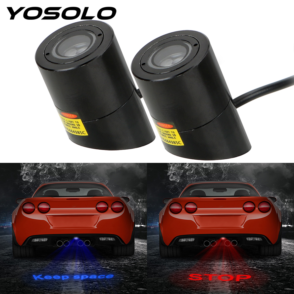 YOSOLO Car Rear License Plate Lights Warning Laser Tail Logo Projector LED Projection Light Motorcycles Decorative Lamp