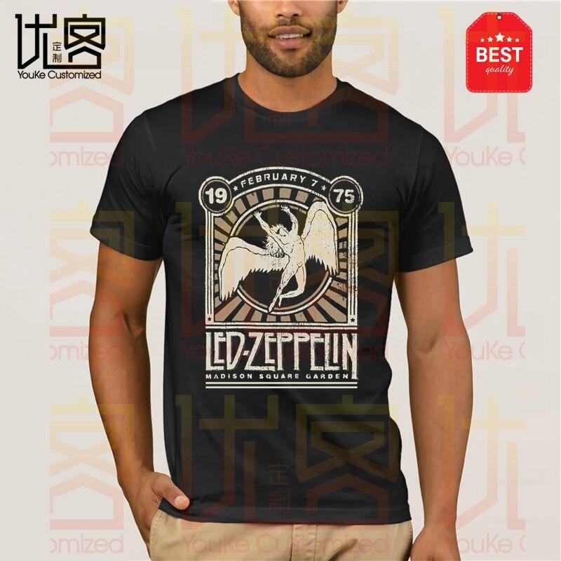 Led-Zeppelin Herren T Shirt Madison Square Garden 1975 Schwarz New Tops Print Letters Men T Shirt Black Cotton T Shirt