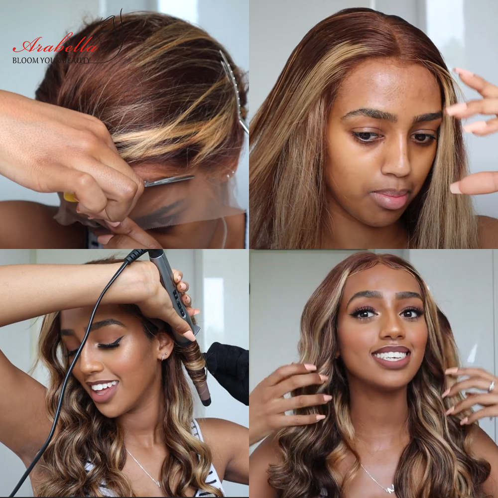 Blonde Streaks 13x4  Wigs With Baby Hair Lace Front Wig Body Wave  Highlight Straight Lace Frontal Wig 4