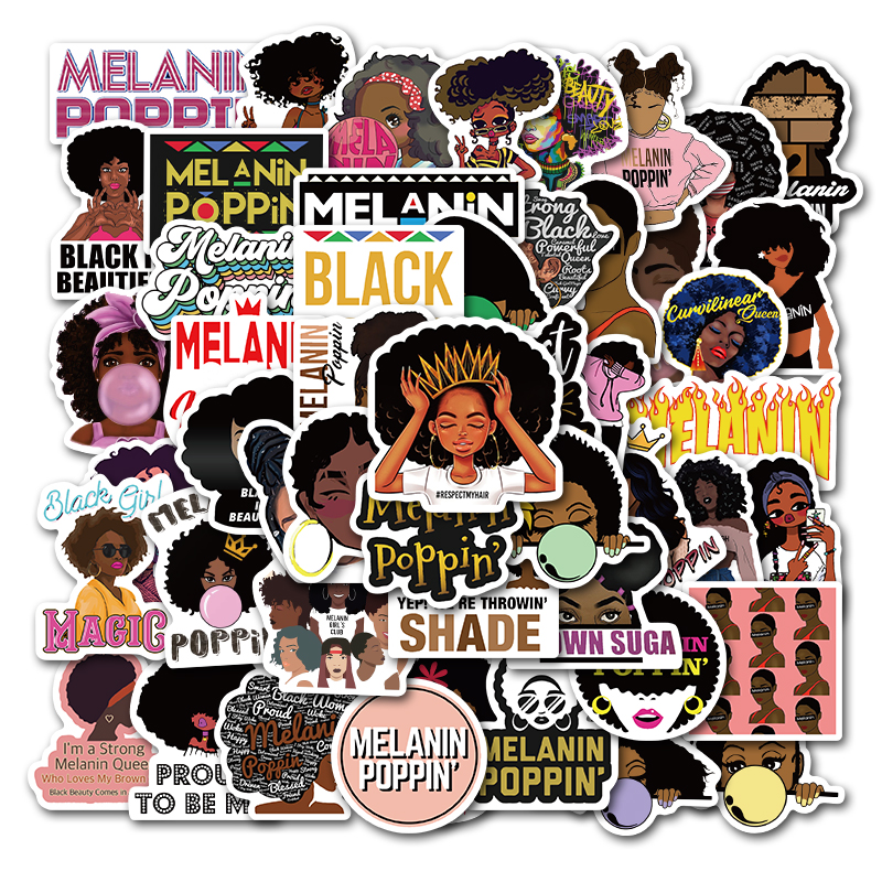 50PCS Fashion Inspirational Melanin Poppin Black Girl Stickers For DIY Luggage Laptop Skateboard Car Motorcycle Bicycle Stickers