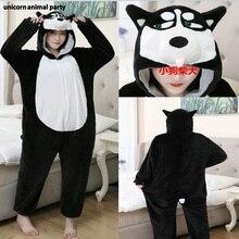 Kigurumi halloween men women Animal Cosplay Husky Dog Cartoon Onesie Costume Black White Cute Dog costumes pajamas Jumpsuit boys dog onesie