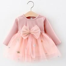 Dress Long-Sleeved Girl Toddler New Mesh Bow Cute Autumn for Kids