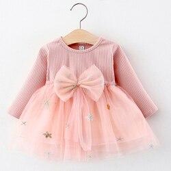 Платье для маленьких девочек, новинка 2020, Осеннее милое Сетчатое платье с бантом для новорожденных, платья принцессы с длинным рукавом для д...