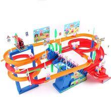 Поезд набор вагон Многослойные электрические музыкальные игрушки подъем по ступенькам горка родитель-ребенок интерактивные детские игрушки подарки