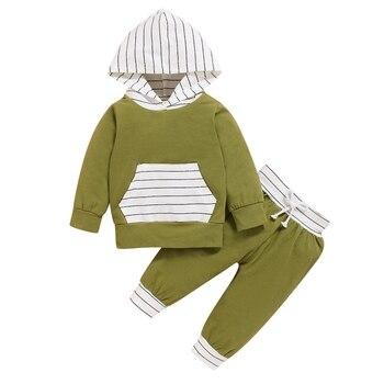 Осенне зимняя Милая одежда для маленьких мальчиков, повседневный брючный костюм, комплект одежды в полоску с капюшоном, толстовка + штаны, к
