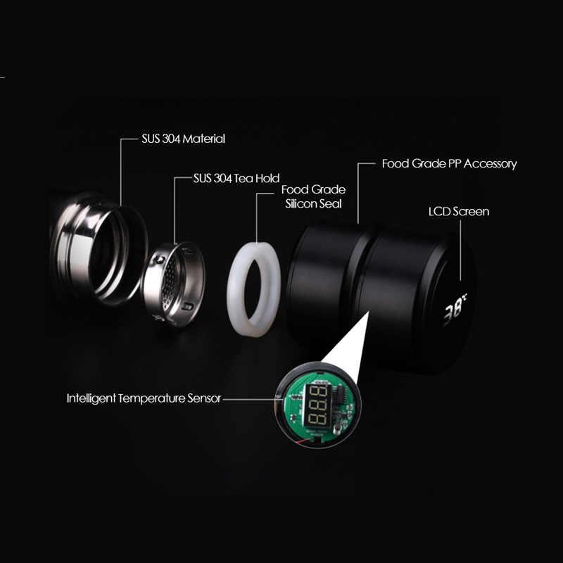 Copo inteligente de aço inoxidável led digital inteligente copo de vácuo thermo garrafa de água quente copo de medição de temperatura inteligente