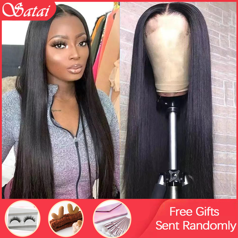Satai Straight Lace Front Wig Brazilian Remy Human Hair Wigs 13x6 Lace Front Wig Pre Plucked Lace Front Human Hair Wigs