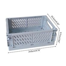 Collapsible Crate Plastic Folding Storage Box Basket Utility Cosmetic Container P9YA