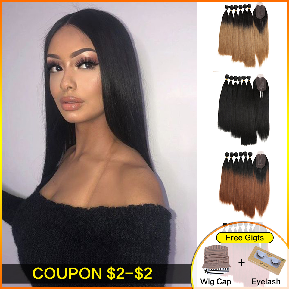 Bella Yaki Straight Hair Bundles 7Pcs/Pack 16-20inch Ombre 613# 4Colors Synthetic Hair Bundles With Closure Weave Hair Extension