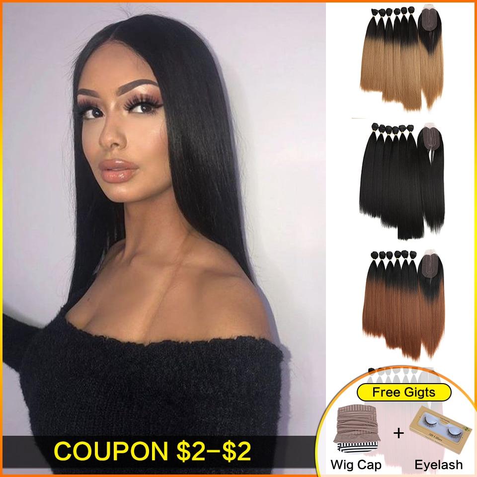 Прямые пряди волос Bella Yaki, 7 цветов, 16-20 дюймов, Омбре, 613 #4 цвета, синтетические пучки волос с застежкой, наращивание волос