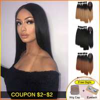 Bella Yaki Straight Hair Bundles 7Pcs/Pack 16 20inch Ombre 613# 4Colors Synthetic Hair Bundles With Closure Weave Hair Extension