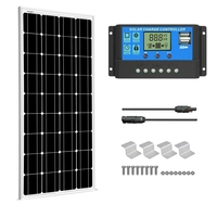 SUNGOLDPOWER 100W Monocrystalline Solar Panel Kit 12V Grade A Solar Cell Solarpanel with Solar Charge Controller Cables for Home