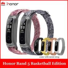 Huawei Honor Fascia 5 Da Basket Edizione w/Cinturino In Metallo Intelligente Wristband AMOLED Vigilanza di Frequenza Cardiaca Fitness Sonno Inseguitore Sport