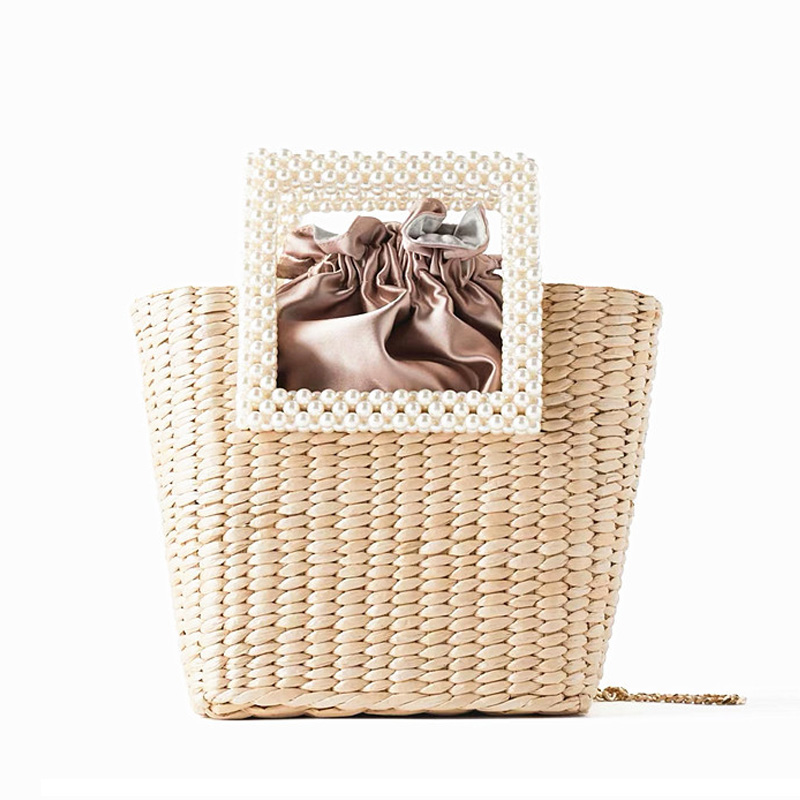 Famous Brand Bags For Women 2020 Summer Fashion Pearl Handle Straw Bag Hand-Woven Beach Vacation Shoulder Bag  Handbag