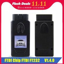 חדש עבור BMW סורק 1.4.0 FTDI שבב OBD OBDII USB אבחון ממשק רב פונקצית נעילת גרסת גרסה 1.4 משלוח חינם