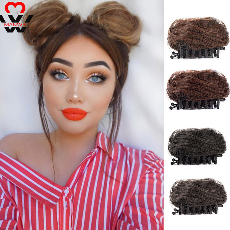 MANWEI Short Synthetic Hair Extension Chignon Donut Roller Bun Wig Hairpiece For Women