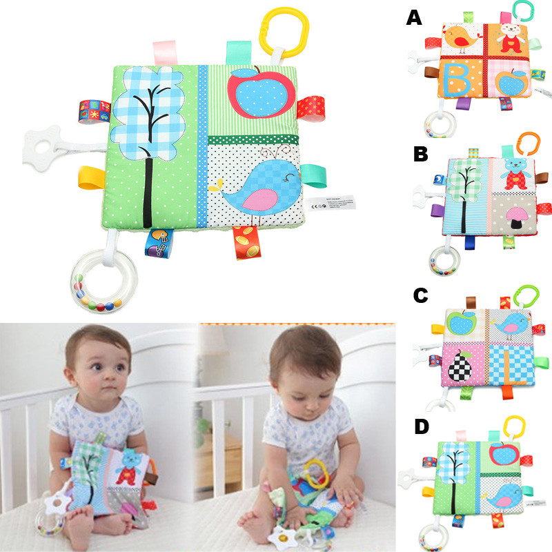 Infant Baby Kids Developmental Rattle Teething Toy Lovely Crinkle Fancy Toys Baby Rattles Mobiles Toy Soft Animal Cloth Book