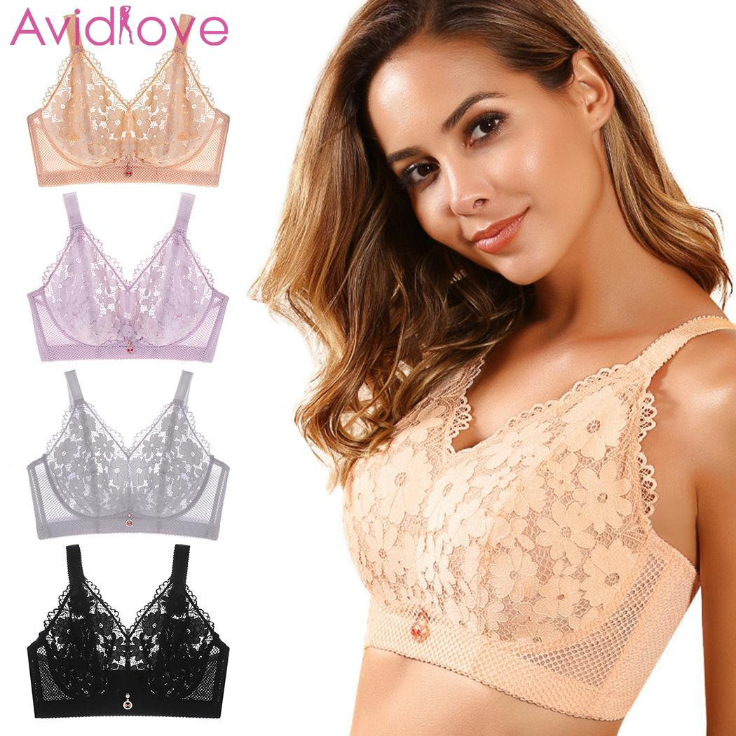 New Women Lace Floral Bra Bustier Crop Tops Sexy Soft Mesh Unpadded Casual No Padded Elastic Wire Free Bra
