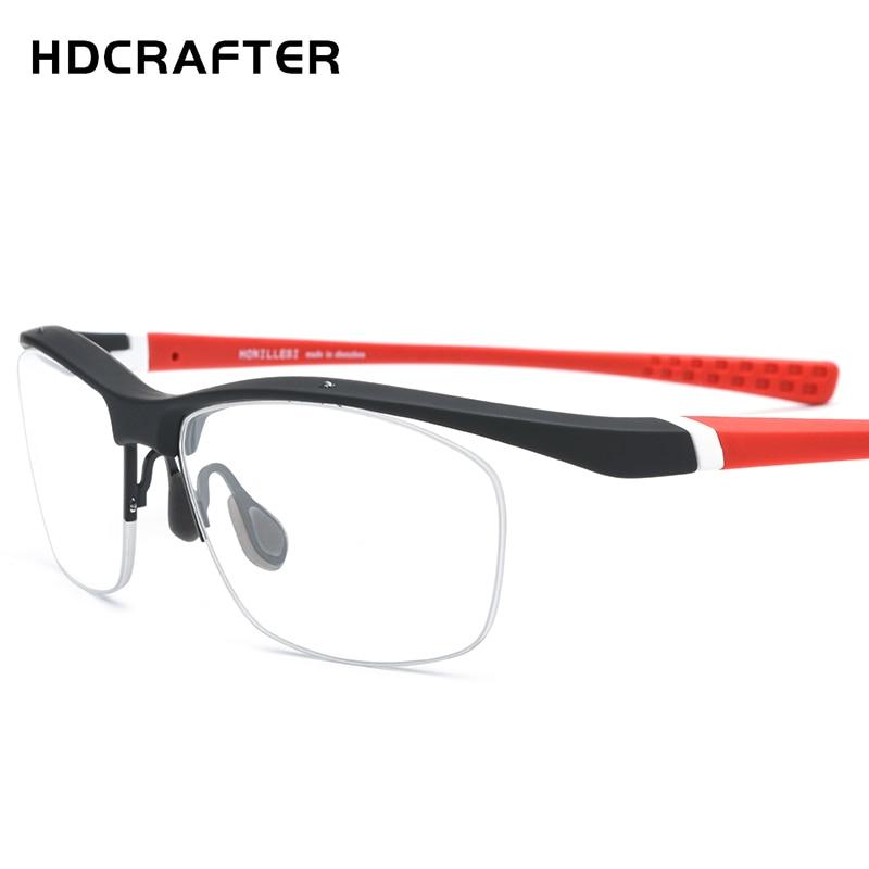HDCRAFTER NewTR90 Glasses Frame Men Outdoor Sports Ultralight Eyewear Half Frames Myopia Optical Prescription Spectacle