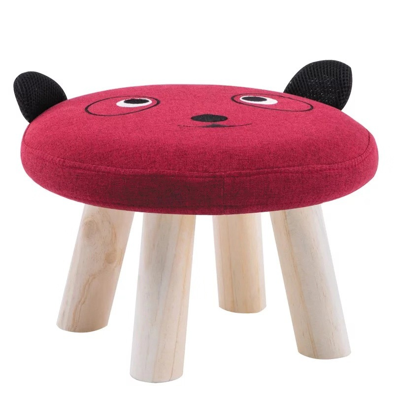 Kids Furniture Wooden Stool Baby Kids Sofa Stool Lovely Animal Solid Wood Bench Funny Little Bench For Household Cartoons Chair