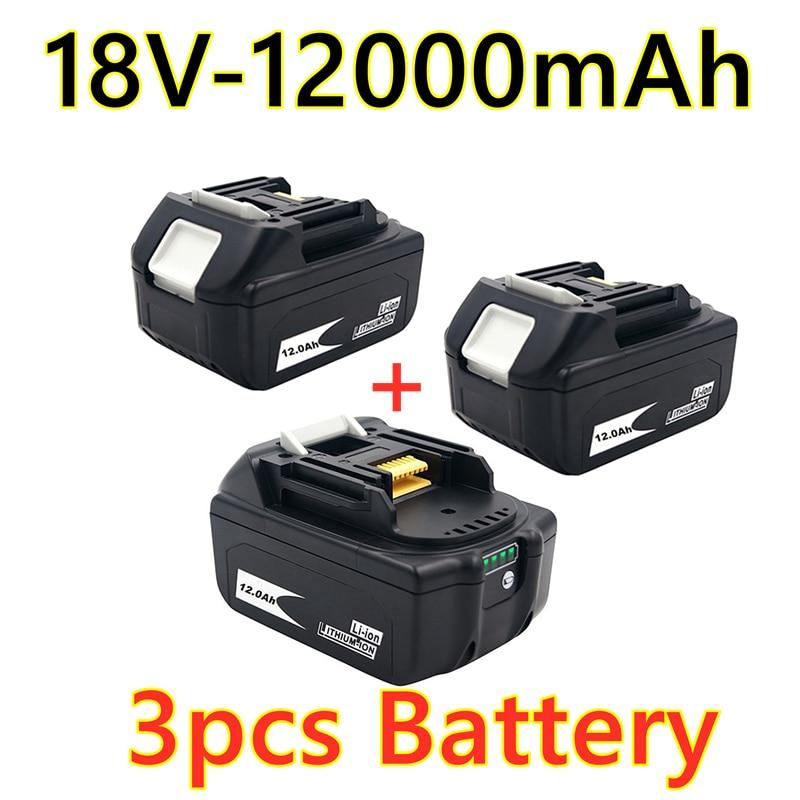 2021 makita bl1880 bl1860 bl1830 bateria recarregável + carregador 3a, 2, 18v, 12.0ah, 12000mah li ion bateria, ferramentas elétricas