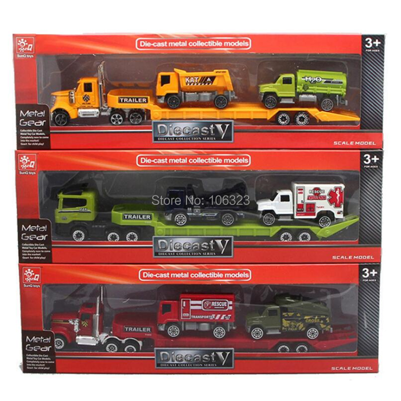 New 3set total 9pcs: 3 Flatbed Cargo Trucks with 6 Car, Die-cast Metal Collectible Models, Trailer Container on Flatcar Kid Toys