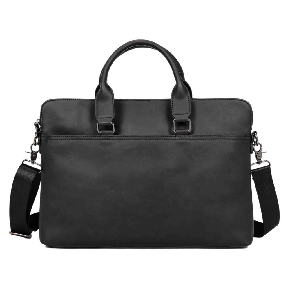 Business Office Laptop Briefcase Men Luxury Brand PU Leather Handbag Male Vintage Shoulder Bags Large Solid Black Travel Bags
