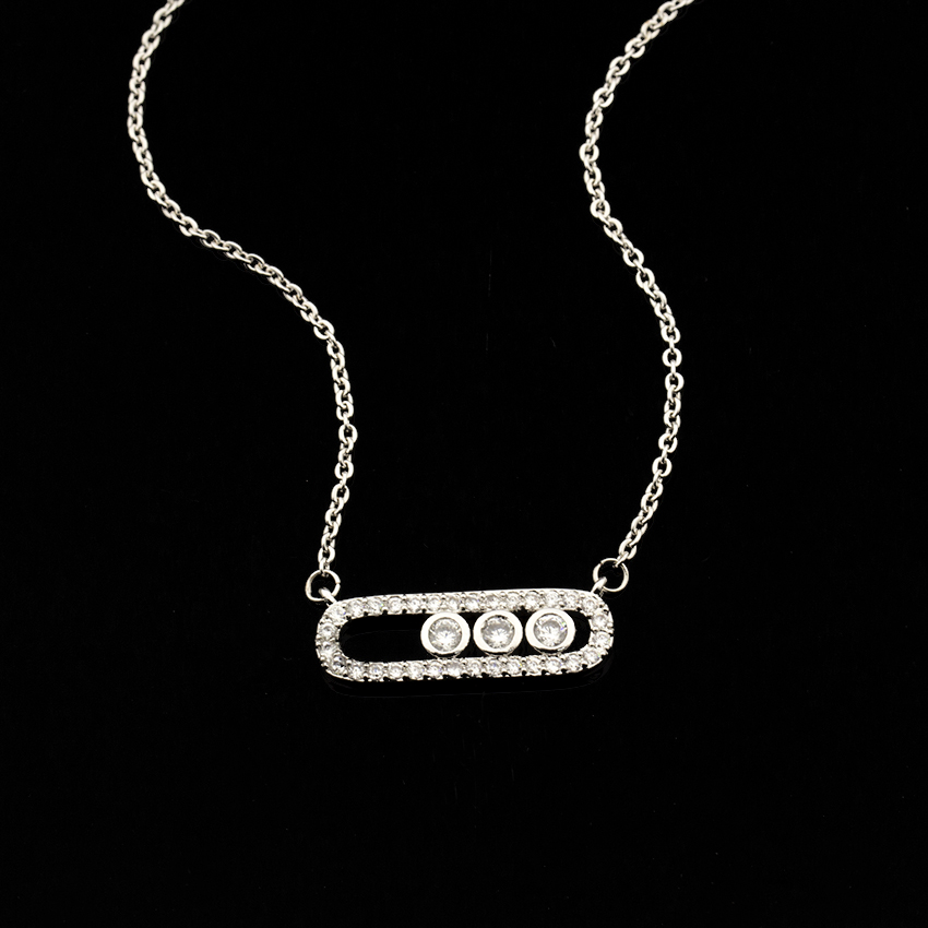 Crystal Zircon Arab Style Bead Pendant Necklace For Women Dainty Wedding Jewelry Stainless Steel Rose Gold On Oval Gifts 2020