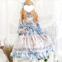 2019 Autumn Long Sleeve Angel Handle Printed Daily Fairytale Dress Sweet Lolita Women's Bows Japanese Princess Hight Waist Dress