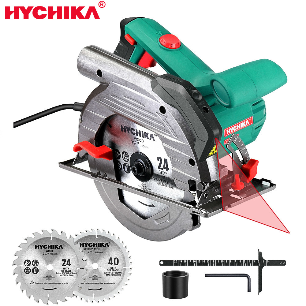 NYCHIKA Electric Mini Circular Saw With Laser 120V Multifunctional Electric Saw DIY Power Tool 1500W Electric Woodworking Tools