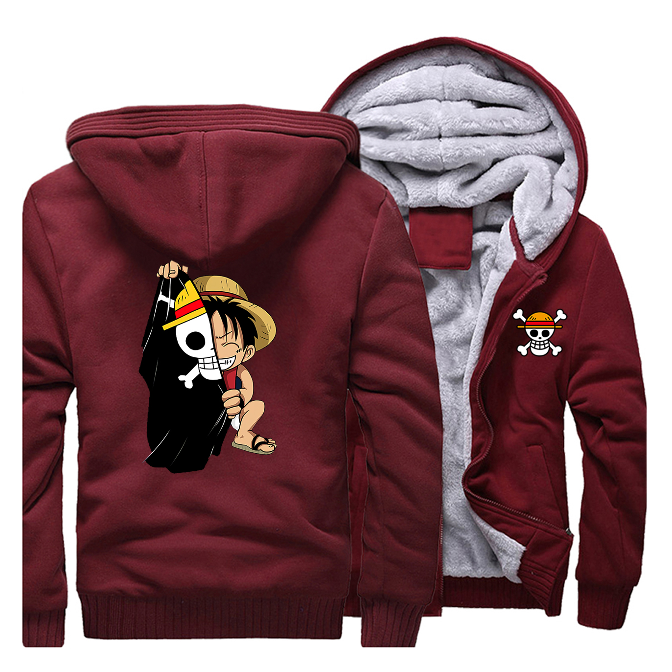 Anime One Piece Luffy Jean Hoodie Coat Hooded Jacket Loose Casual Hiphop Outwear