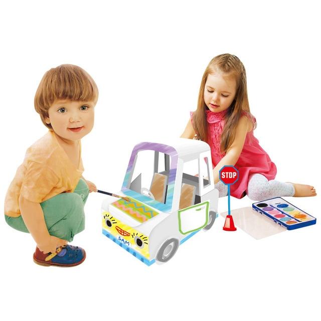 Diy Graffiti Car Paper Model 3D Puzzle Educational Toys Assembled Brain Teaser Puzzle Game Toys 2