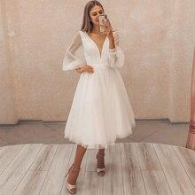 Короткое + свадебное + платье + v-образный вырез + тюль + пуховики + рукава + простые + и + сексуальные + 2021 + новинка + свадьба + костюм