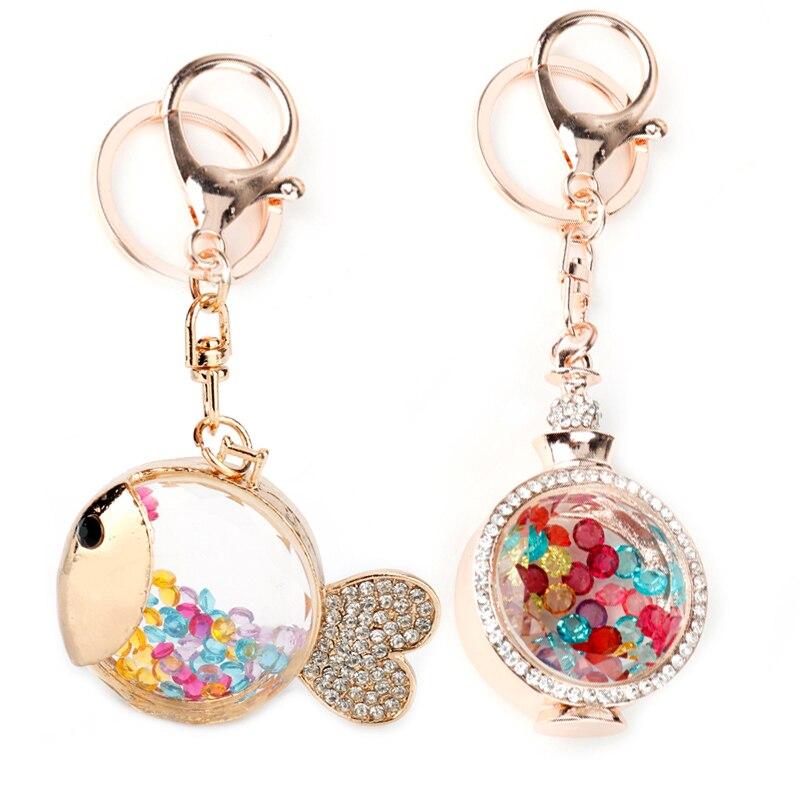 Fashion Creative Cute Tropical Fish Marine Keychain Rhinestone Jewelry Colorful Crystal Glass Charm Women Handbag Key Chain