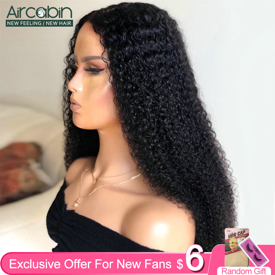 Aircabin Kinky Curly 4x4 Lace Closure Wigs For Black Women Brazilian Human Hair Wigs 150% Density 13x6 Lace Front Wigs Non-Remy