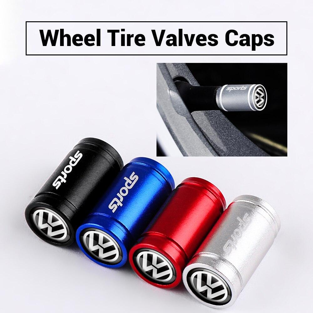 4pcs Car styling  aluminum Metal  Tyre Stem Air Caps for VOLKSWAGEN VW Scirocco Touareg Tiguan Golf Jetta Emblem Badge